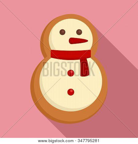 Gingerbread Snowman Icon. Flat Illustration Of Gingerbread Snowman Vector Icon For Web Design