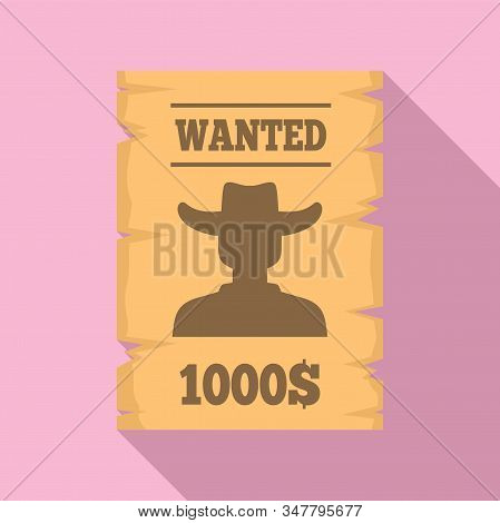 Western Wanted Paper Icon. Flat Illustration Of Western Wanted Paper Vector Icon For Web Design