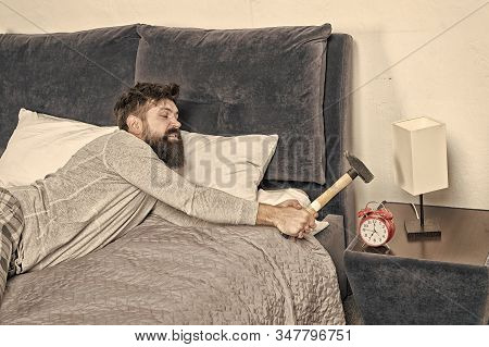 Going Crazy. Healthy Sleep Concept. Need More Relax In Bed. Bearded Man Hipster Want To Sleep. Hate
