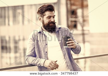 Morning Needs Caffeine. Bearded Man Drink Hot Caffeine Drink Outdoor. Hipster Hold Cup With Caffeine