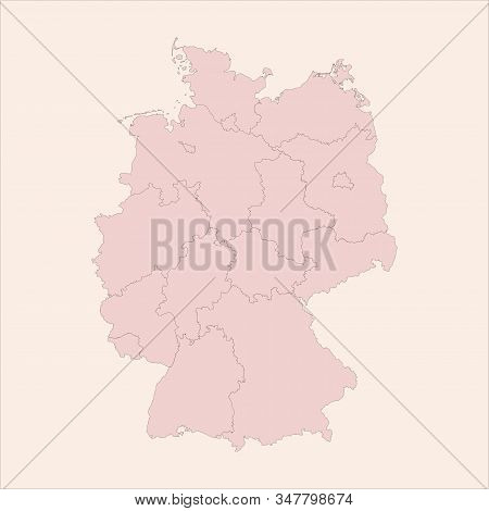 Germany Political Vintage Map With Provinces Vector. Perfect For Backgrounds, Backdrop, Business Con