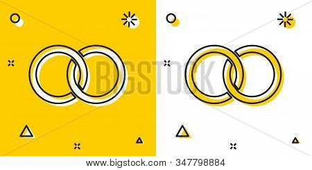 Black Wedding Rings Icon Isolated On Yellow And White Background. Bride And Groom Jewelery Sign. Mar