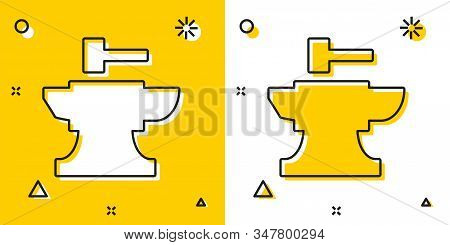 Black Anvil For Blacksmithing And Hammer Icon Isolated On Yellow And White Background. Metal Forging