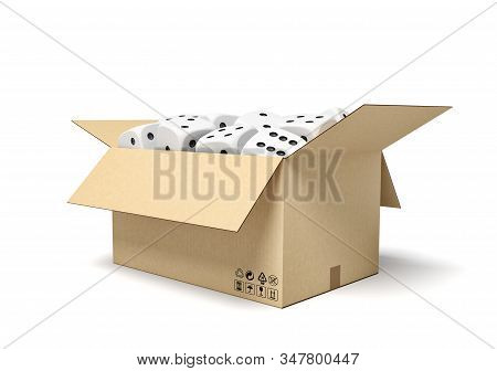 3d Rendering Of Cardboard Box Full Of White Dice With Black Spots.