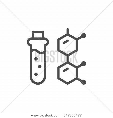 Soil Specimen Line Outline Icon Isolated On White. Test Tube With Sample Of Ground And Atomic Formul