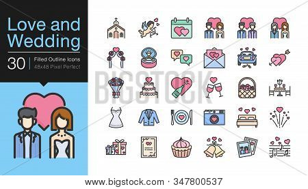 Love And Wedding Icons. Filled Outline Icon Design. For Presentation, Graphic Design, Mobile Applica