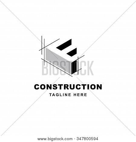 Construction Logo Design With Letter F Shape Icon. Initial Letter F On Building Symbol