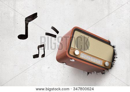 3d Rendering Of Old Radio Set Breaking White Wall