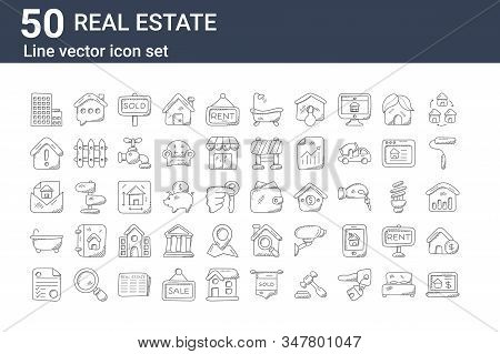 Set Of 50 Real Estate Icons. Outline Thin Line Icons Such As House For Sale, Foreclosure, Bathtub, R