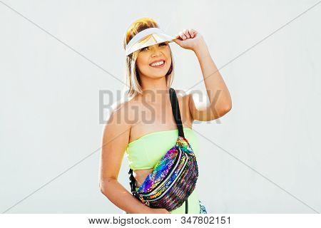 Brazilian Carnival. Young Woman Dressed For The Carnival Block, Traditional Events On The Streets Of