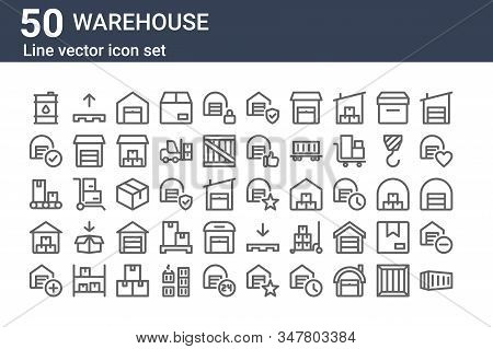 Set Of 50 Warehouse Icons. Outline Thin Line Icons Such As Container, Warehouse, Warehouse, Conveyor