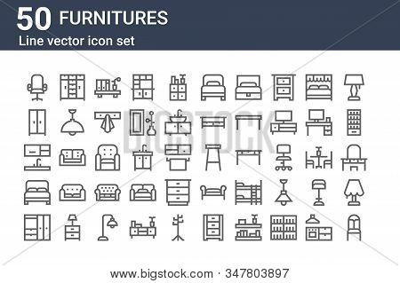 Set Of 50 Furnitures Icons. Outline Thin Line Icons Such As Chair, Wardrobe, Double Bed, Kitchen, Wa