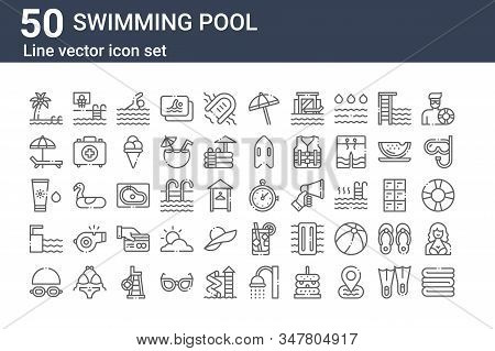 Set Of 50 Swimming Pool Icons. Outline Thin Line Icons Such As Towel, Goggles, Springboard, Sunscree