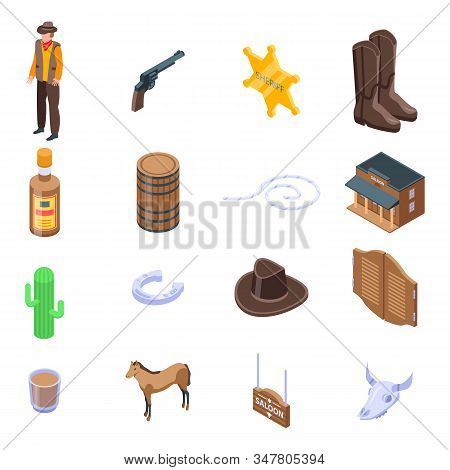 Saloon Icons Set. Isometric Set Of Saloon Vector Icons For Web Design Isolated On White Background