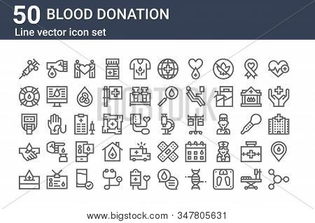 Set Of 50 Blood Donation Icons. Outline Thin Line Icons Such As Cells, Donation, Blood Donation, Blo