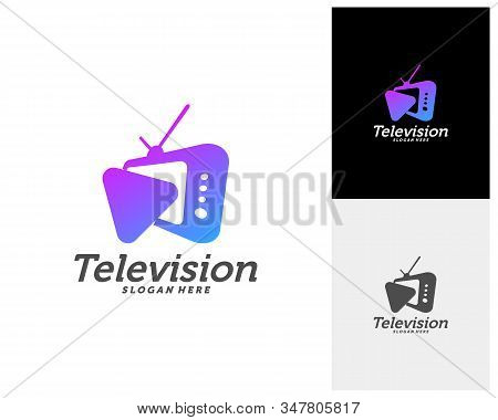 Media Tv Creative Logo Concepts, Play Television Logo Design, Abstract Colorful Icons, Elements And
