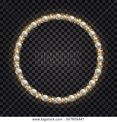 Decorative Frame With White Pearls And Gold Glowing Sparkles. Shiny Golden Glitter, Jewelry Design,