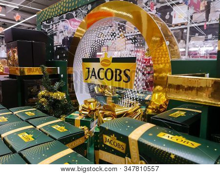 Jacobs Coffee From Germany, Popular In Europe On Shelf For Sale At Auchan Shopping Centre On Decembe