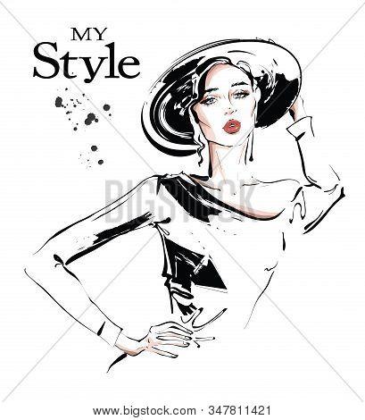 Hand Drawn Beautiful Young Woman In Hat. Stylish Girl. Cfashion Woman Look. Sketch. Vector Illustrat