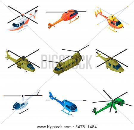 Helicopter Icons Set. Isometric Set Of Helicopter Vector Icons For Web Design Isolated On White Back