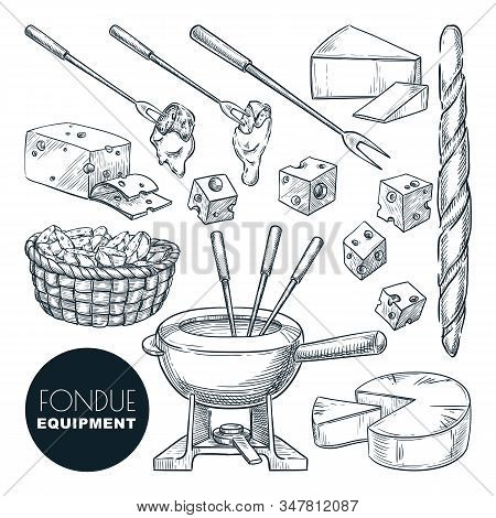Cheese Fondue Fresh Ingredients And Equipment. Vector Hand Drawn Sketch Food Illustration. Delicious