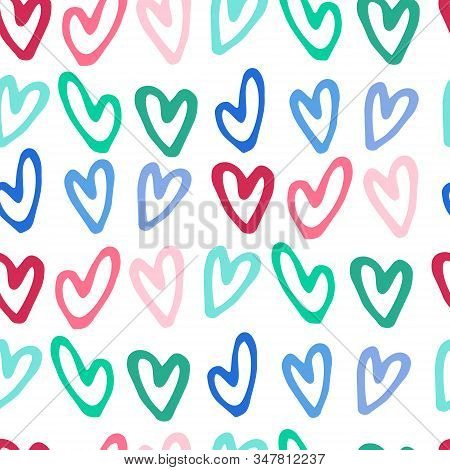 Seamless Pattern With Hand Drawn Multicolored Heart Shapes On White Background For Gift Wrap And Oth