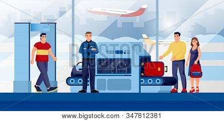 Baggage Check-in Security Control Point At Airport Terminal. Vector Illustration. People With Luggag