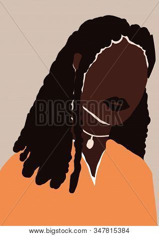 Abstract Modern Young African American Black Woman Portrait Silhouette. Fashion Minimal Trendy Peopl