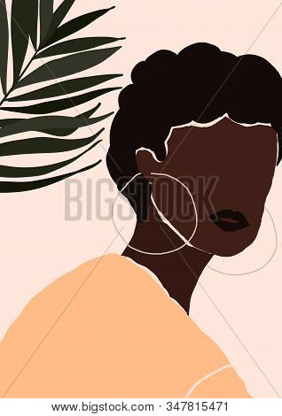 Abstract Modern Young African American Black Woman With Earrings Portrait Silhouette. Fashion Minima