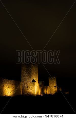 Town Wall In Visby, Sweden At Night.