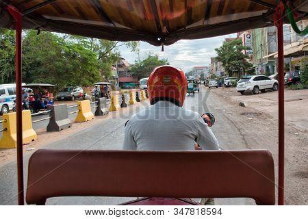 Siem Reap, Cambodia, 12.18.2019: Inside View Of A Traditional Motorbike Tuk Tuk Taxi, A Popular Tran