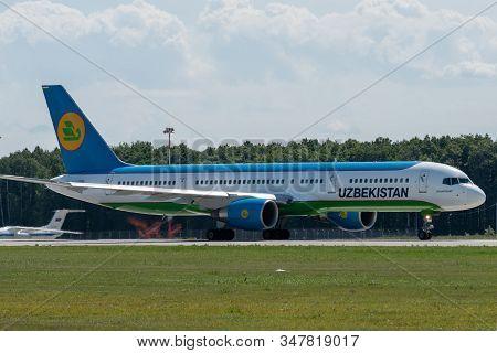 July 2, 2019, Moscow, Russia. Airplane Boeing Boeing 757-200 Uzbekistan Airways At Vnukovo Airport I