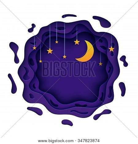Night Sky In Round Purple Shape In Paper Cut Style. 3d Background With Violet Cloudy Landscape With
