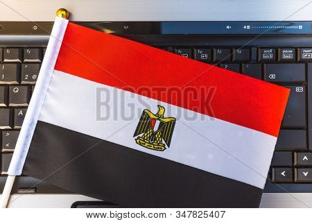 Flag Of Egypt On Computer, Laptop Keyboard