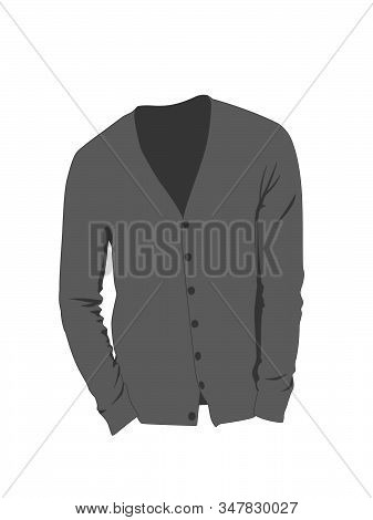 Cardigan For Men Vector Grey No Background