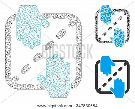 Mesh Authorized Shares Model With Triangle Mosaic Icon. Wire Carcass Triangular Mesh Of Authorized S