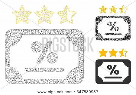 Mesh Bond Rating Model With Triangle Mosaic Icon. Wire Carcass Polygonal Mesh Of Bond Rating. Vector