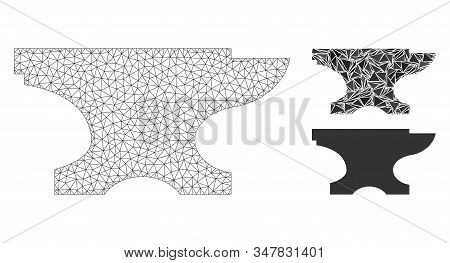 Mesh Forge Model With Triangle Mosaic Icon. Wire Carcass Triangular Mesh Of Forge. Vector Collage Of