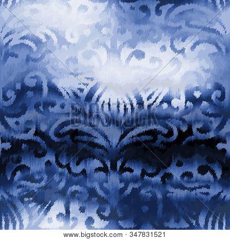 Indigo Blue Damask Refracted Glass Glow Chic Tile