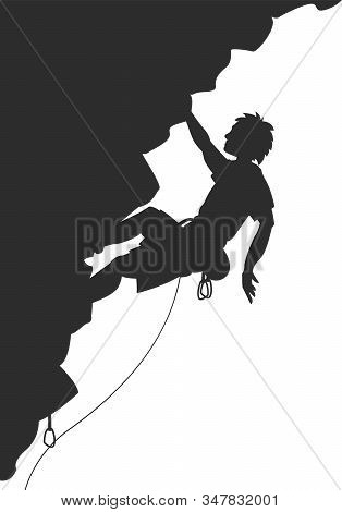 Silhouette Of Young Man Hanging In Overhang In Rock Wall. No Real Person.