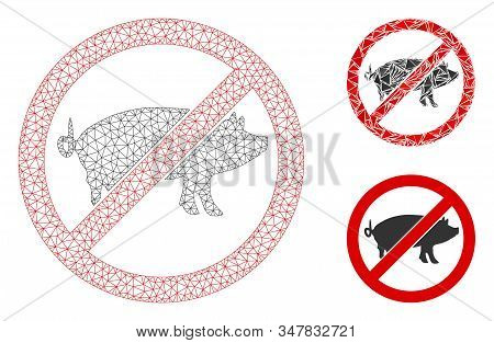 Mesh Stop Swine Model With Triangle Mosaic Icon. Wire Frame Polygonal Network Of Stop Swine. Vector