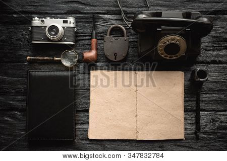 Detective Story Book Mock Up. Top Secret Documents On Detective Agent Desk Flat Lay Background.