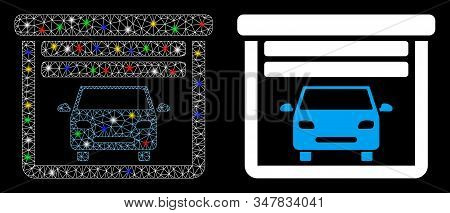 Glowing Mesh Car Garage Open Icon With Glare Effect. Abstract Illuminated Model Of Car Garage Open.