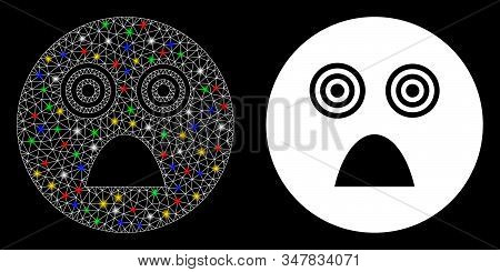 Bright Mesh Crazy Smiley Icon With Glow Effect. Abstract Illuminated Model Of Crazy Smiley. Shiny Wi