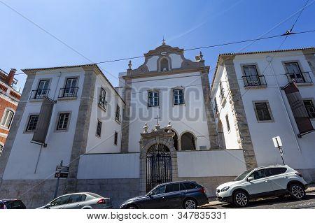 Lisbon - August 28, 2019: Facade Of The Covent Of Sao Pedro De Alcantara Located In Bairro Alto, The