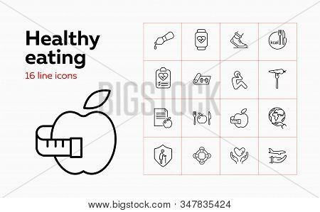 Healthy Eating Icon Set. Set Of Line Icons On White Background. Apple, Protection, Diet, Plate. Diet