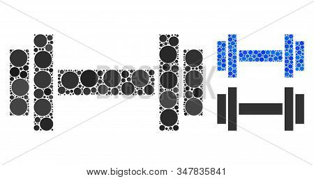 Barbell Composition Of Round Dots In Various Sizes And Shades, Based On Barbell Icon. Vector Round D