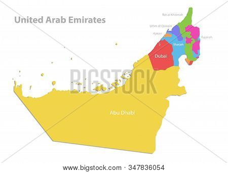 United Arab Emirates Map, Administrative Division With Names, Color Map Isolated On White Background