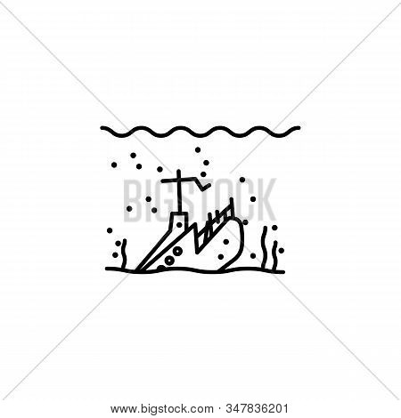 Bottom, Pirate, Pirates, Seaweed, Ship, Sunken Line Icon On White Background
