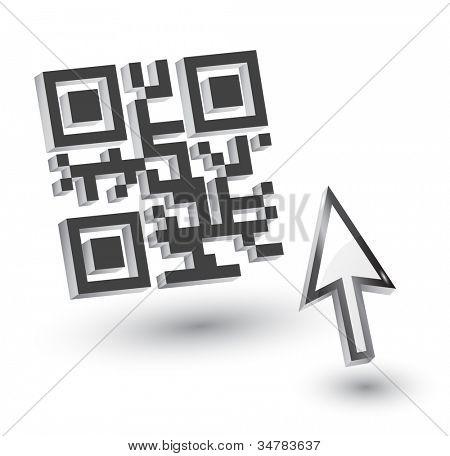 3D QR Code with mouse arrow, vector
